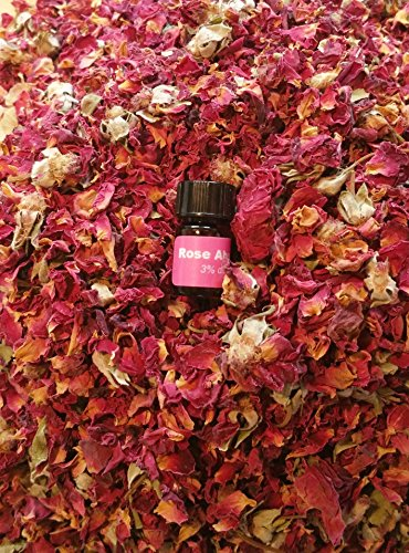 (bMAKER Dried Rose Buds& Petals Red 1 Lb Edible Flowers| Best for Tea, Baking, Making Rose Water, Crafting, Wedding Confetti | Included Sample Bottle of Rose Absolute Essential)