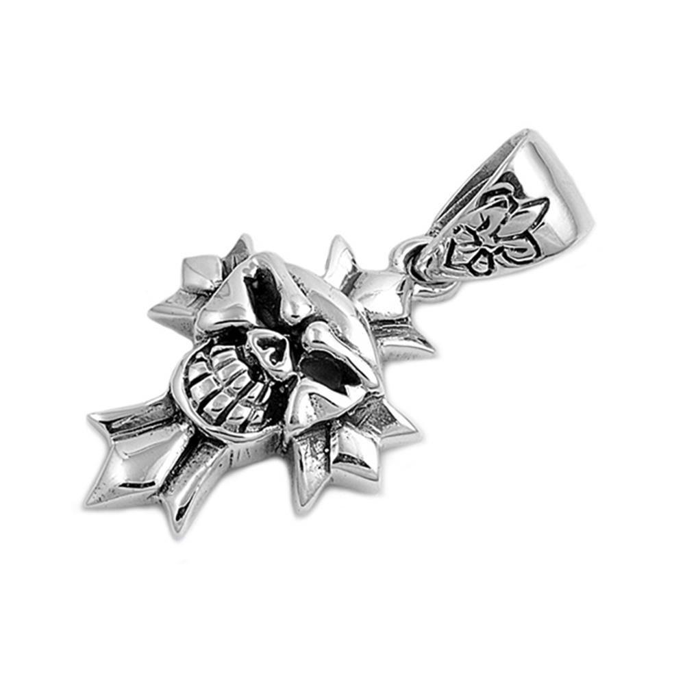 Glitzs Jewels Sterling Silver Skull Pendant 39mm