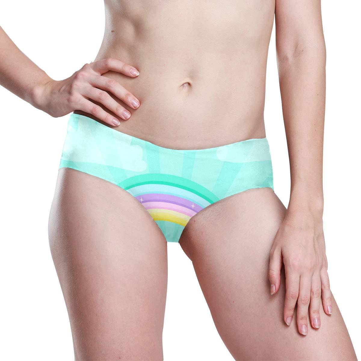FAJRO Essentials Womens Stretch Panties Rainbow Sparkling Cute Panties
