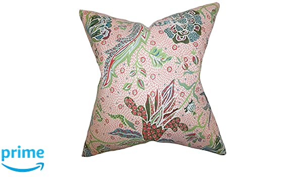 The Pillow Collection Fflur Floral Bedding Sham Coral Standard//20 x 26