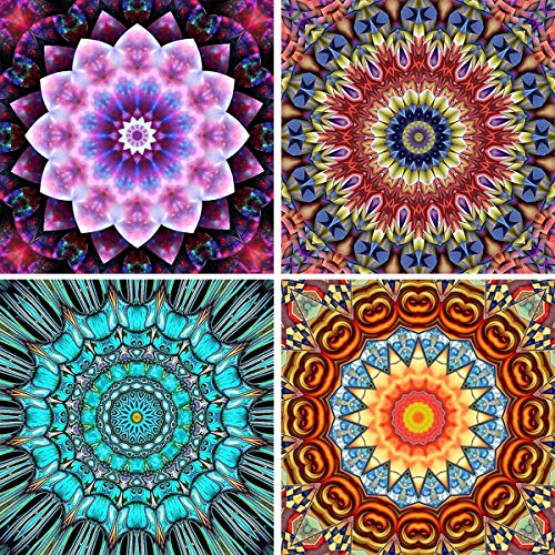 4 Pack 5D DIY Diamond Painting Kit Mandala Flowers for Adults Full Drill by Number Kits, Bohemian Cabinet Table Stickers Paint with Diamonds Embroidery Rhinestone Cross Stitch Decor (12 x 12 inch) -