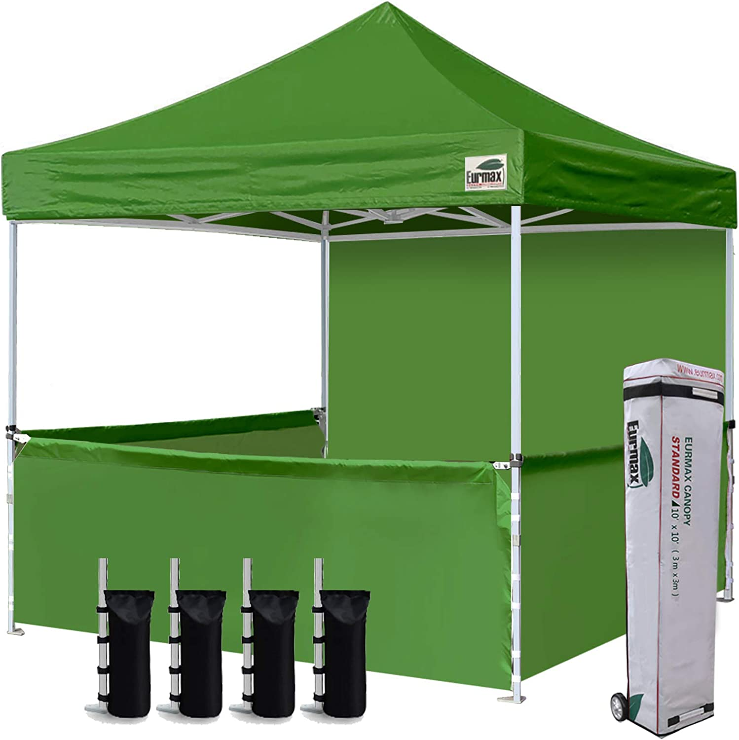 Eurmax 10'x10' Ez Pop-up Booth Canopy Tent Commercial Instant Canopies with 1 Full Sidewall & 3 Half Walls and Roller Bag, with 4 SandBags + 3 Cross-Bar