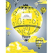Dot Grid Journal - Yellow Watercolor Hot Air Balloons: Dotted Notebook (Large Journals To Write In)