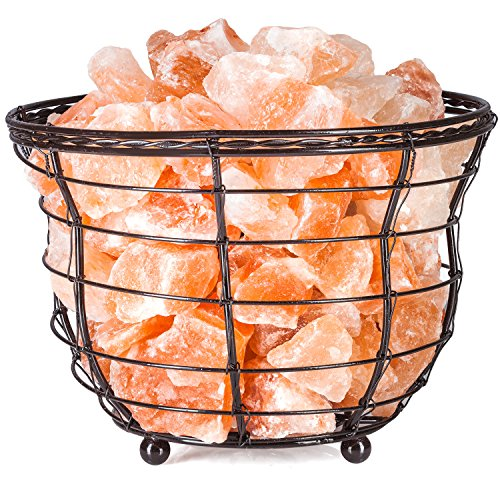 "HemingWeigh Himalayan Salt Chip Lamp In Metal Basket Bowl 8x7.15"" Electric Wire and Bulb Included by HemingWeigh"