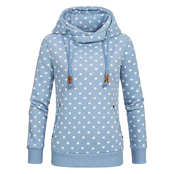 CHIYEEE Damen Lange Ärmel Hoodie Frauen Kapuzenpullover Pullover mit Kapuze Cross Over Kragen und Fleece Innenseite S 5XL
