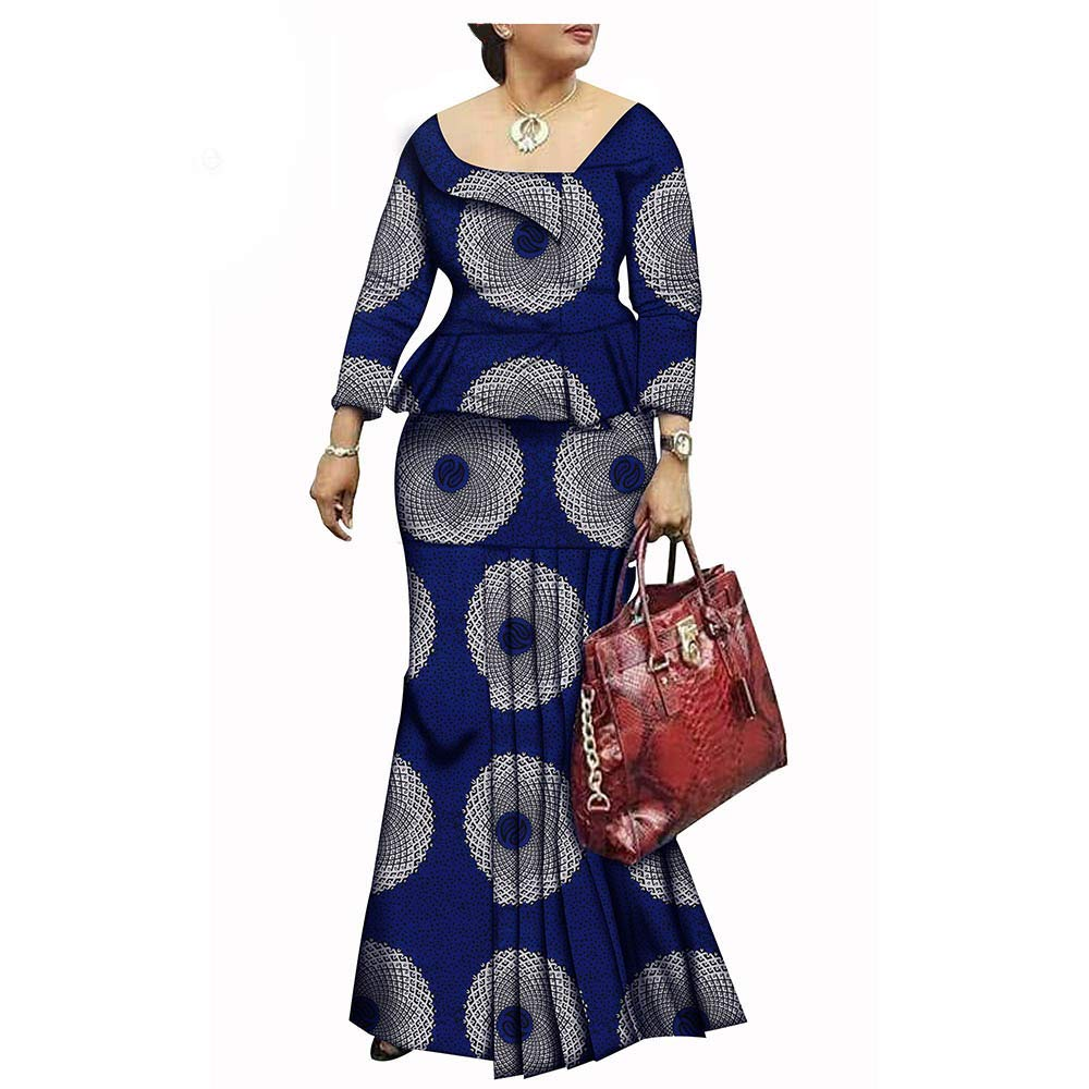 356 African Style 1Piece Long Maxi Dress for Lady Full Sleeve Pure Cotton Ankara Print Dashiki
