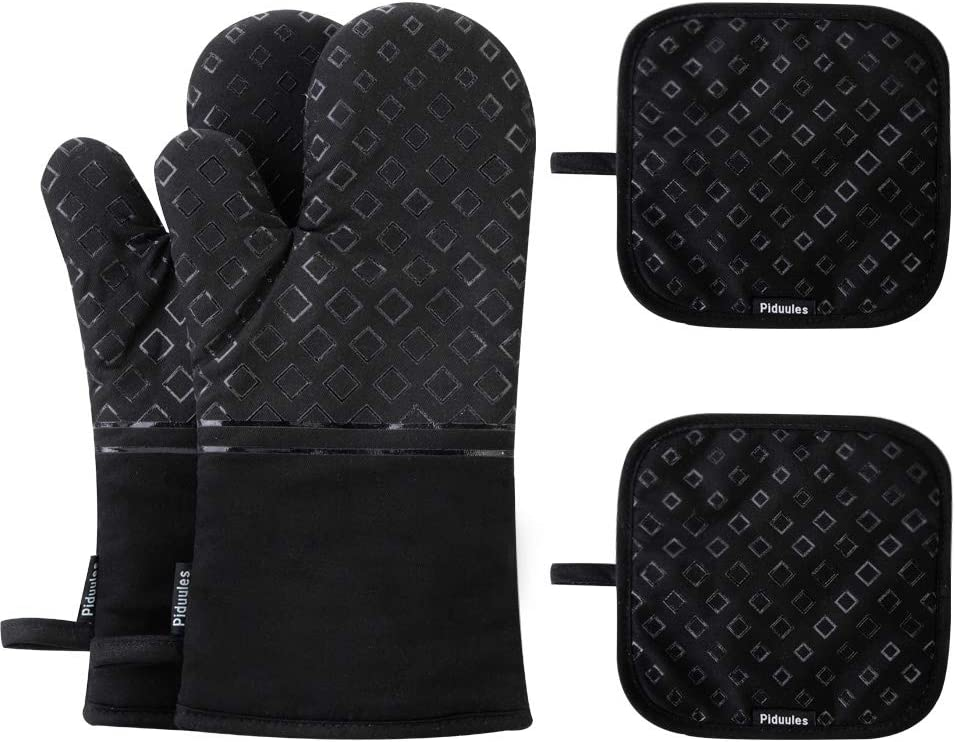 Piduules Set of 4 Oven Mitts and Pot Holders, 482 F Heat Resistant Hot Plate Moving Non-Slip Gloves for BBQ, Grill, Baking, Cooking, Oven, Microwave (Black)