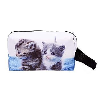 Widewing Bolso Cosmético a Prueba de Agua de la Moda 3D Cat Print Embrague Cosmético de Almacenamiento: Amazon.es: Equipaje