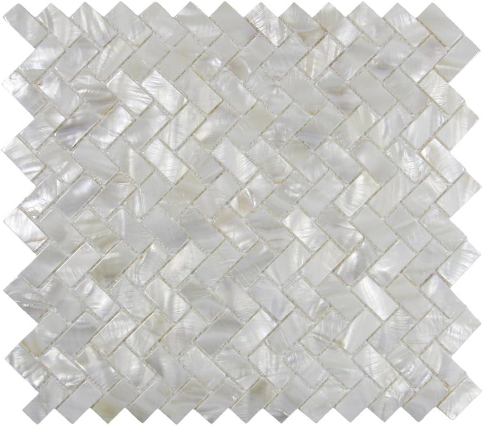 Badezimmer Vogue Fliese Mosaikfliese f/ür K/üche echtes Perlmutt Spa Fischgr/ätenmuster Pool Traditionell Full Sheet Austernwei/ß