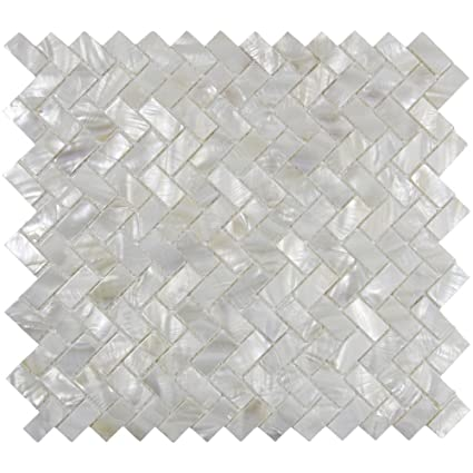Amazon genuine mother of pearl oyster herringbone shell mosaic genuine mother of pearl oyster herringbone shell mosaic tile for kitchen backsplashes bathroom walls ppazfo