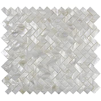 Amazon Vogue Tile Genuine Mother Of Pearl Oyster Herringbone