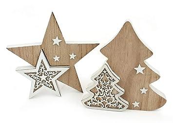 Grosser Stern Hänger Holz creme weiss Deko Winter Weihnachten
