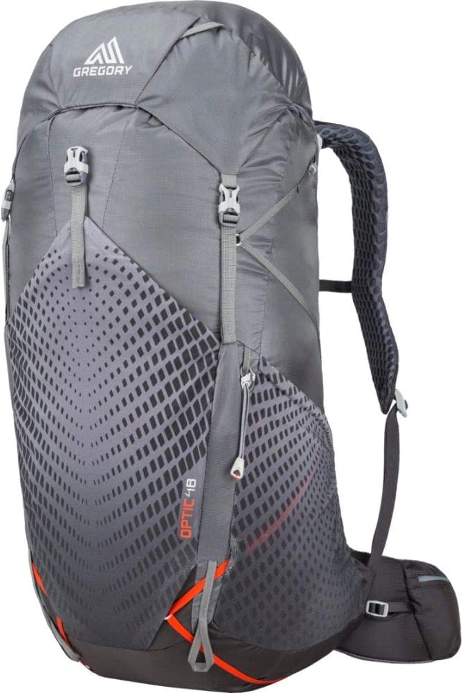 This is an image of a gray-colored backpacking bag from Gregory, with stylish design in front that looks like an optical illusion.