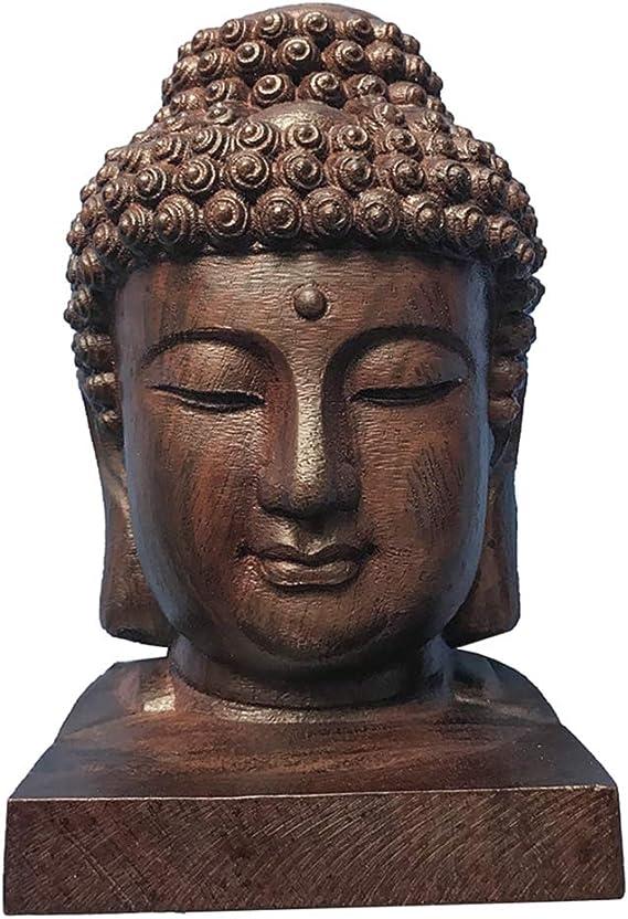 Brown Hand Carved Redwood Craft Sakyamuni Head Buddha Statue Tathagata Sculpture