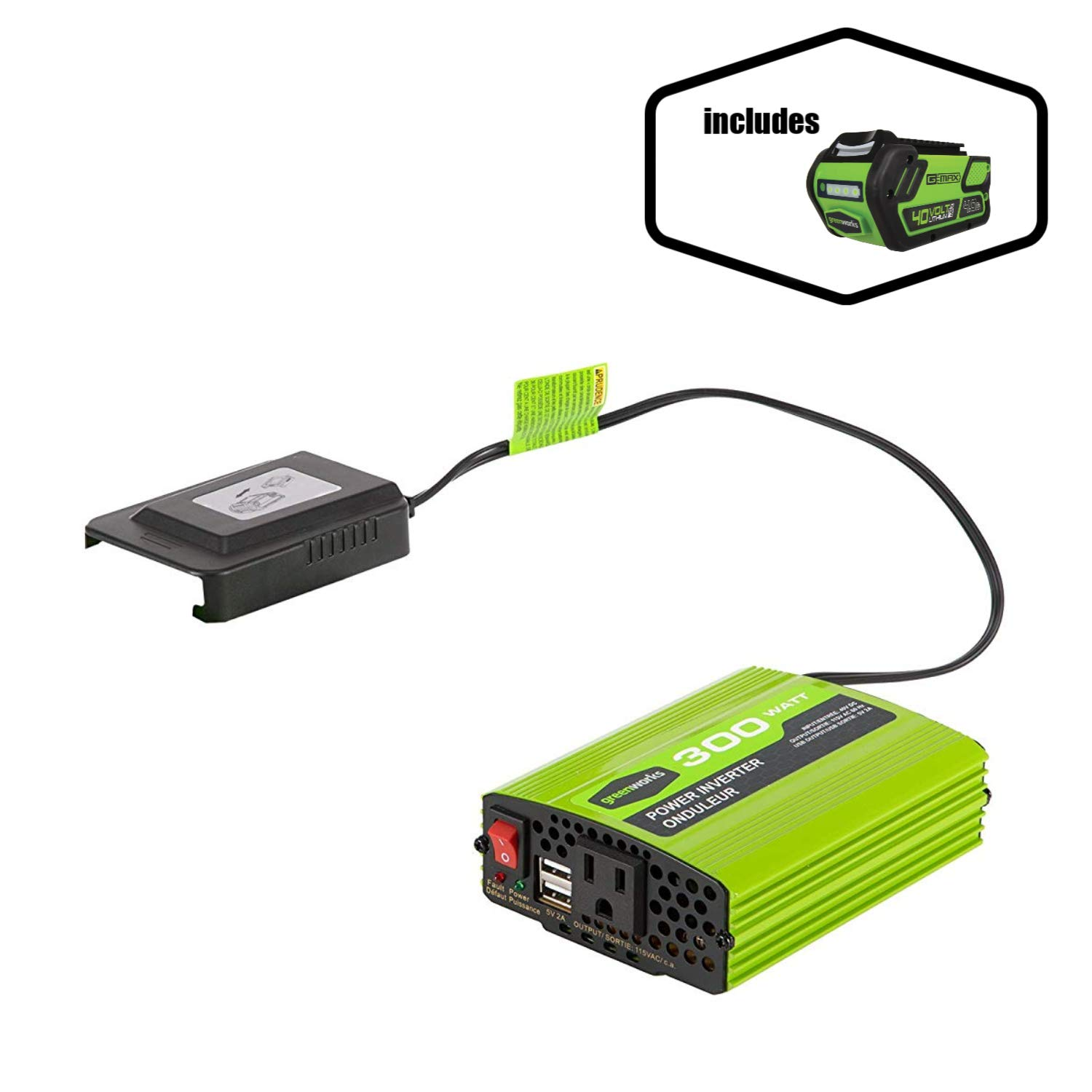 Greenworks 40V 300W Cordless Power Inverter with 4.0Ah 40V battery