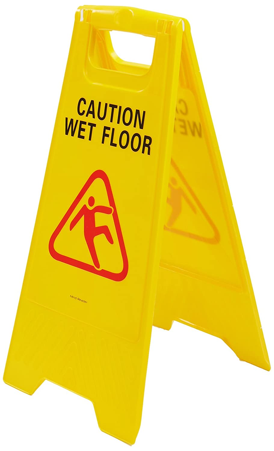Mind Reader Commercial 2 Sided Floor Safety Sign Caution Wet Floor Warning Sign Yellow