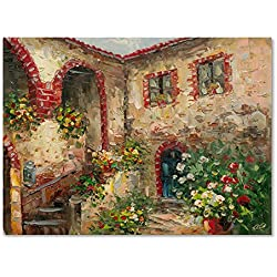 Trademark Fine Art Tuscany Courtyard Artwork by Rio, 35 by 47-Inch Canvas Wall Art