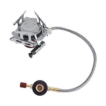 3500W Hornillo de Camping Hornillos Portátiles Plegable Mini Estufa de Gas de Acero Inoxidable Quemador con