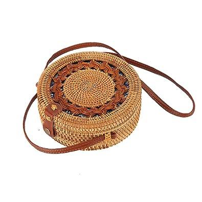b21c86ab0c283c Rattan Boho Purse Handwoven Straw Bag (blue floral flower snap ...