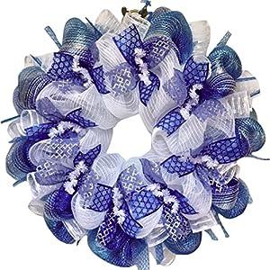 Glittering Silver And Blue Hanukkah Deco Mesh Ribbon Wreath 34