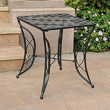 Diamond Lattice Outdoor Iron Side Table