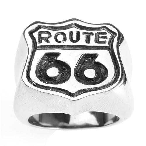 CARTER PAUL Acero inoxidable de los hombres punkyes de la carretera Route 66 anillos, Tamaño