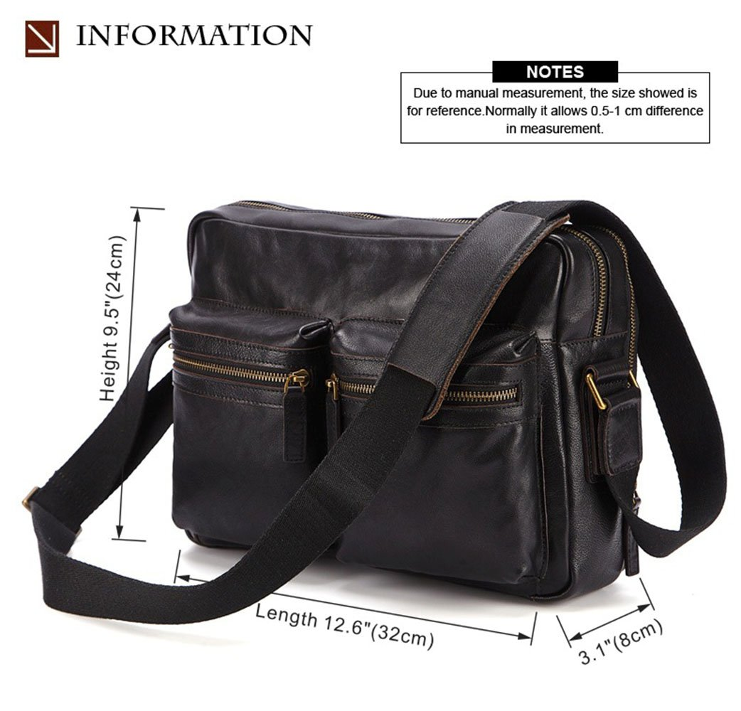 LWYJ Vintage Mens Messenger Bag,Sling Bag,Shoulder Bag,Genuine Leather Bag Cowhide Multifunctional Briefcase.Retro Lightweight Everyday Satchel Bag For Business Casual Sport Hiking Travel