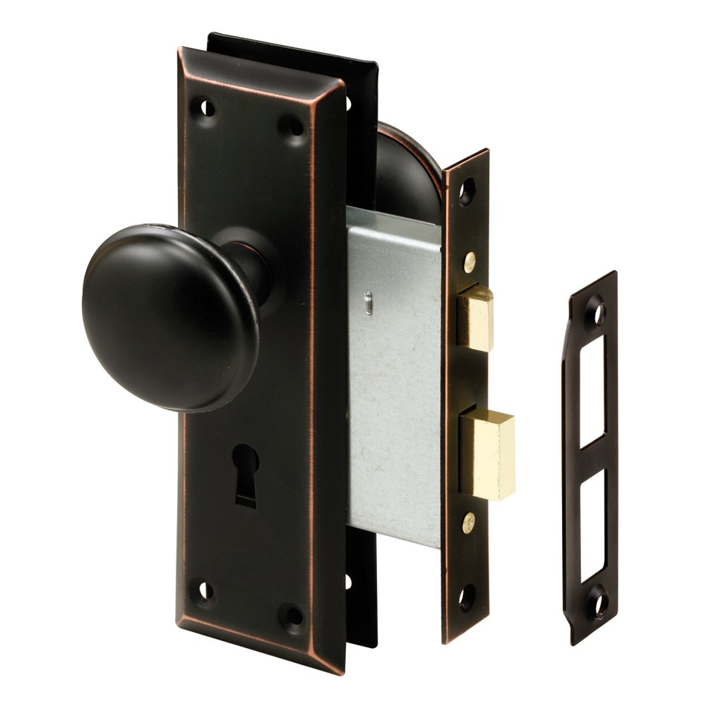 Prime Line E 2495 Mortise Keyed Lock Set With Classic Bronze Knob   Perfect  For Replacing Broken Antique Lock Sets And More, Fits 1 3/8 In. 1 3/4 In.