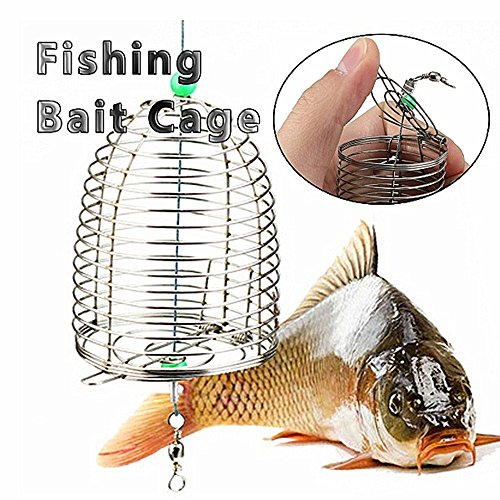 10g Stainless Steel Wire Fishing Bait Lure Cage Fishing crawfish bait fishing trap- Fishing Feeder Spring
