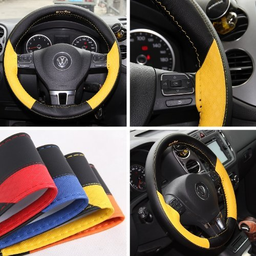 Circle Cool 47017 Yellow and Black PVC Leather Steering Wheel Stitch On Wrap Cover 14.5