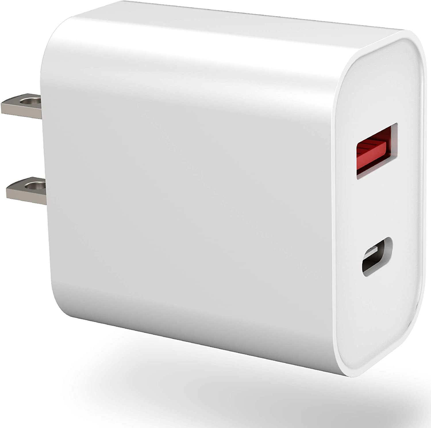 SUPERDANNY USB C Charger, 18W Power Delivery Power Adapter with QC 3.0, Dual Port Type C Wall Charger with Foldable Plug, PD Charger for iPad Pro, iPhone 11, AirPods, Google Pixel, Samsung Galaxy, LG