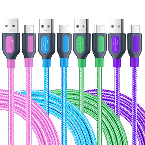 USB C Cable 6Ft, Pofesun [4 Pack] Nylon Braided USB A to USB C Charger Fast Type C Charging Cable for Samsung Galaxy S9 S8 Plus Note 8/9, LG V30 V20 G6 G5, HTC U11/10 (Blue, Green, Purple, Pink)