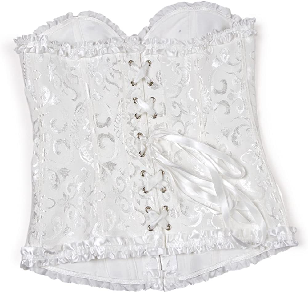 frawirshau Women's Lace Up Boned Overbust Corset Bustier Lingerie Bodyshaper Top at  Women's Clothing store
