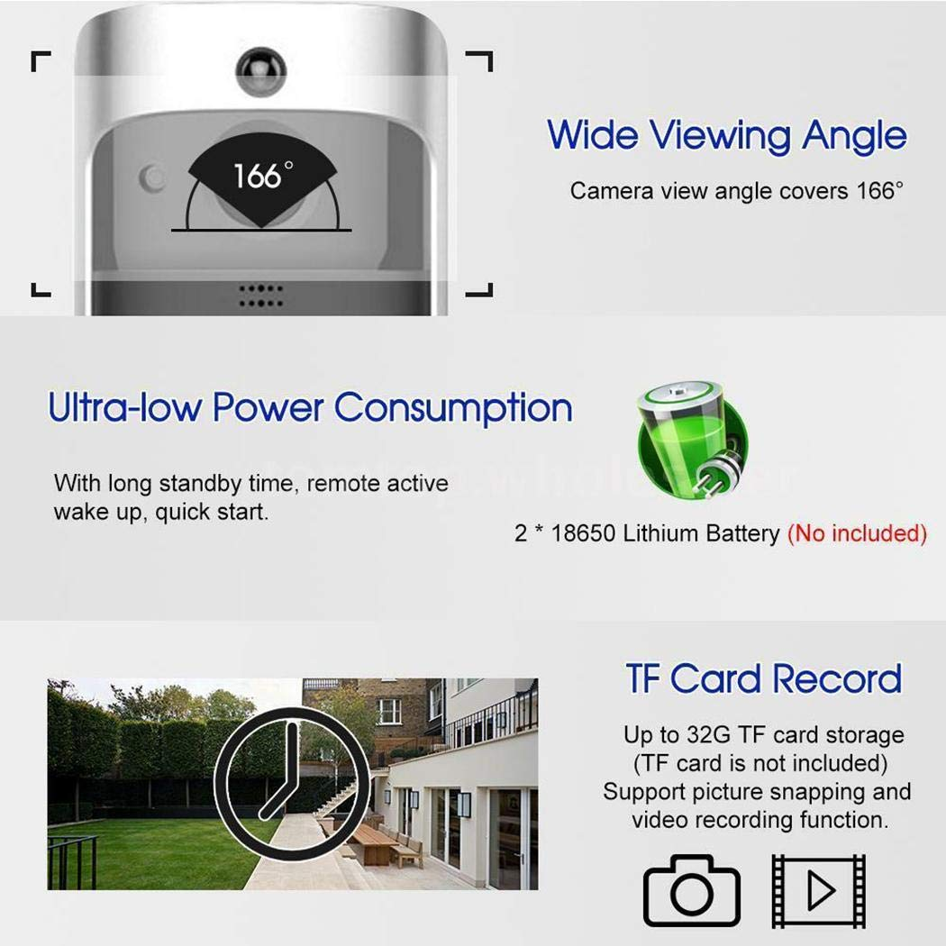 lantusi Durable Practical 166° Wide-Angle Wireless Phone Remote Doorbell Kits by lantusi (Image #7)