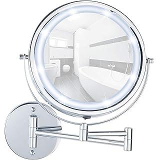 Chrom Stahl mit hochwertigem Acrylrahmen 500/% Vergr/ö/ßerung Befestigen ohne bohren Spiegelfl/äche /ø 16.5cm 20 x 24.5 x 10-40 cm WENKO 3656480100 Power-Loc LED Wandspiegel Aura