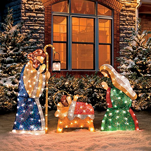 Shimmering Holy Family Nativity-Set of 3 (Outdoor Nativity Set)