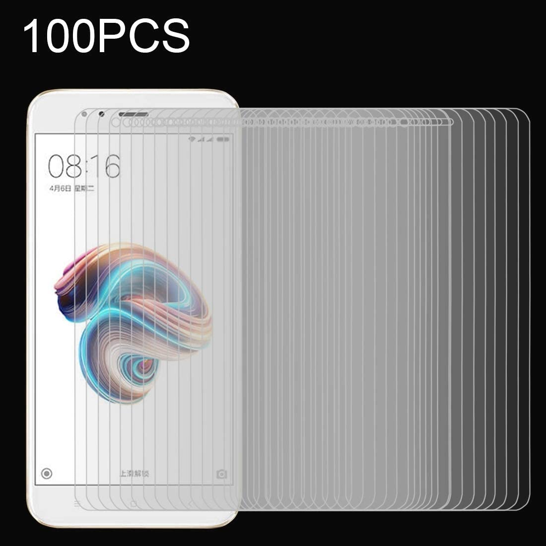 ZHANGYUNSHENG 100 PCS for Xiaomi Mi 5X A1 0.26mm 9H Surface Hardness 2.5D Explosion-Proof Full Screen Tempered Glass Screen Film zys