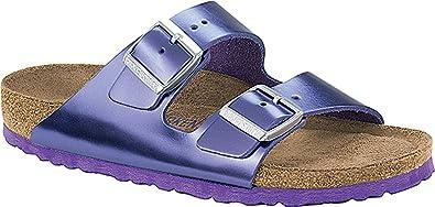 a45fd535fcca Birkenstock Women s Arizona Soft Footbed Metallic Violet Leather Sandal  Size  ...