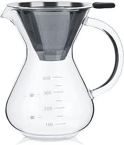 Lazmin Cafetera, 400 ml Vaso de Vidrio para Goteo Manual Cafetera con Escala para Oficina u hogar, con Grifo Tipo V y manija de Engrosamiento, Aislamiento térmico: Amazon.es: Electrónica
