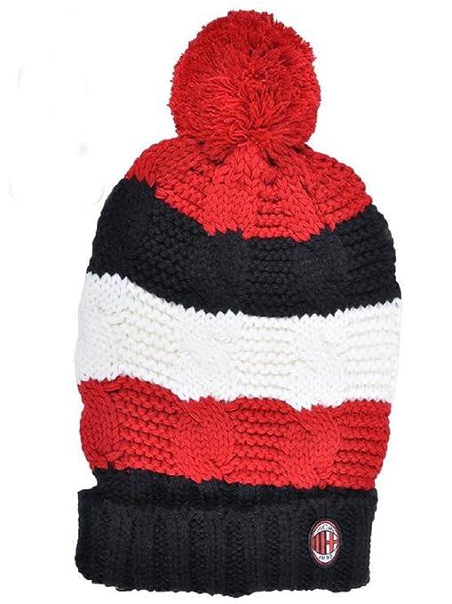 Abbigliamento Milan gadget tifosi cappello treccia ponpon  01572   Amazon.it  Sport e tempo libero a1aca2163347