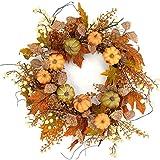 "Idyllic 20"" Pumpkin Wreath with Autumn Fall Maple Leaves Wreath Decorative Faux Artificial Harvest Front Door Decor Wreath"
