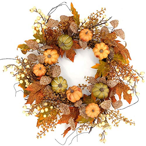 Idyllic 20'' Pumpkin Wreath Autumn Fall Maple Leaves Wreath Decorative Faux Artificial Harvest Front Door Decor Wreath by Idyllic