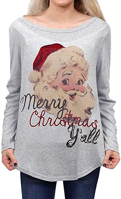 Acción De Carnaval Camiseta Moda para Mujer Carta Vintage Feliz Navidad para Mujer De Santa Camisas De Manga Larga Blusa Elegante Moda Camisa De Cuello Redondo Tops: Amazon.es: Ropa y accesorios