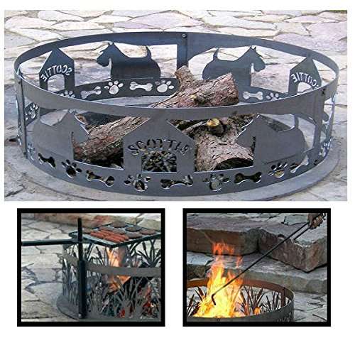 PD Metals Steel Campfire Fire Ring Scottie Design - Unpainted - with Fire Poker and Cooking Grill - Extra Large 60 d x 12 h Plus Free eGuide by PD Metals