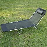 Outsunny Adjustable Folding Reclining Beach Sun Lounge Chair Bed Recliner, Black