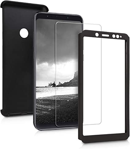 kwmobile Cover for Xiaomi Redmi Note 5 (Global Version) / Note 5 Pro - Shockproof Protective Full Body Case with Screen Protector - Metallic Black