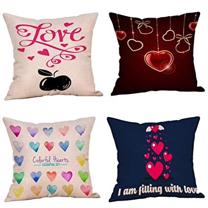 Amazon.com: ForShop 4PC Happy Valentine s Linen Sofa Cushion ...