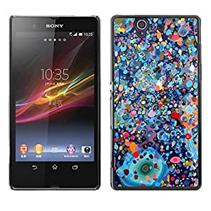 Be Good Phone Accessory // Dura Cáscara cubierta Protectora Caso Carcasa Funda de Protección para Sony Xperia Z L36H C6602 C6603 C6606 C6616 // Psychedelic Blue Painting Pollock