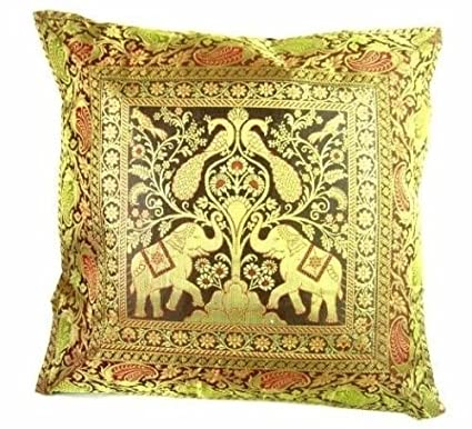 Amazon Ganesham Handicraft Indian Ethnic Hand Decorative Silk New Indian Silk Decorative Pillows