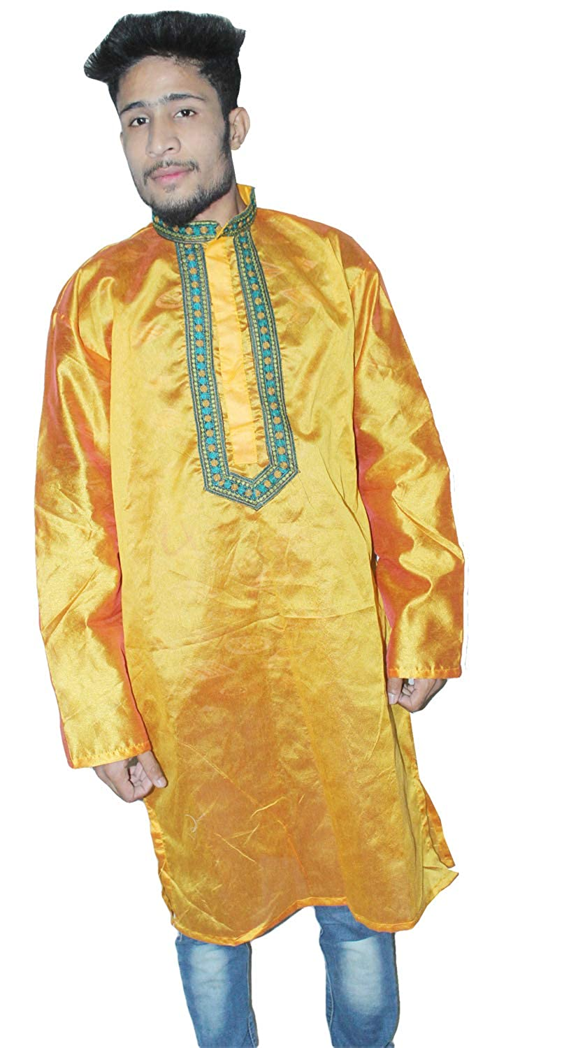Lakkar Haveli Indian Kurta Embroidered Artificial Silk Solid Gold Color Plus Size